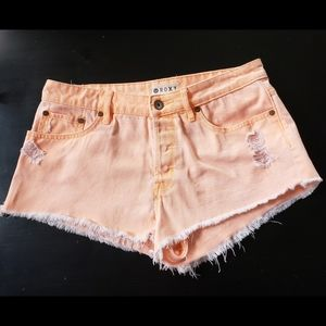 ROXY DISTRESSED ORANGE CUTOFF DENIM SHORTS